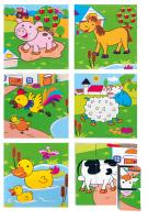 Picture cubes puzzle – farm animals, 3×3