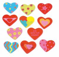 Wooden sticker - heart,displ. 24 pcs