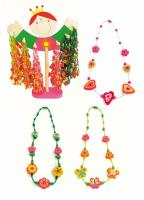 Holder with necklaces - princess, combination of wood and plastic, displ.72pcs