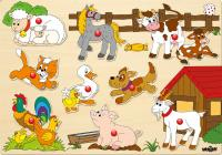 Puzzle on board - farm animals
