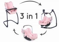 3v1 Autosedačka a židlička MC&Q pro panenky světle růžová